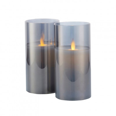 Set of 2 Glass Candles Ivy | Grey