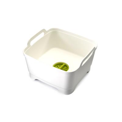 Washing Up Bowl with Plug Wash&Drain | White