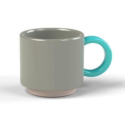 Stapelbare Espresso-Tasse Skittle | Grau & Henkel Hellblau