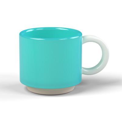 Stapelbare Espresso-Tasse Skittle | Hellblau & Henkel Weiß