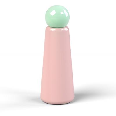 Wiederverwendbare Trinkflasche Skittle | 50 cl | Rosa & Deckel Hellblau