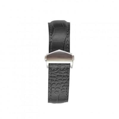 Crocodile Embossed Apple Watch Strap | Black & Silver