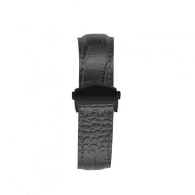 Crocodile Embossed Apple Watch Strap | Black & Black