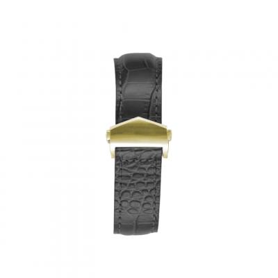 Crocodile Embossed Apple Watch Strap | Black & Gold