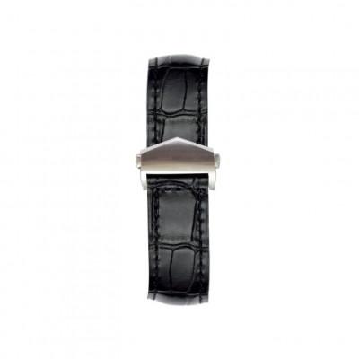 Alligator Embossed Apple Watch Strap | Black & Silver