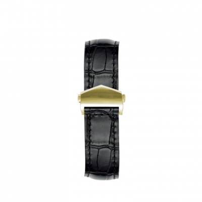 Alligator Embossed Apple Watch Strap | Black & Gold