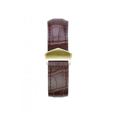 Alligator Embossed Apple Watch Strap | Brown & Gold