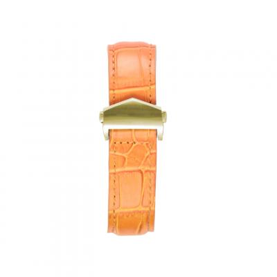 Alligator Embossed Apple Watch Strap | Tan & Gold