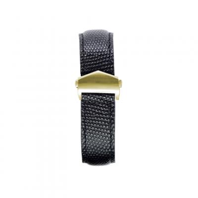 Lizzard Embossed Apple Watch Strap | Black & Gold