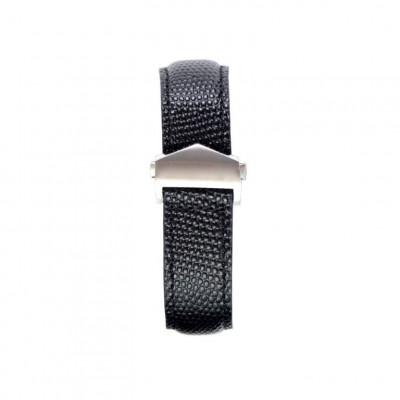 Lizzard Embossed Apple Watch Strap | Black & Silver