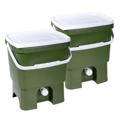 2er-Set Küchenkompost Bokashi Organko 1 mit 1 Kg Bokashi Bran | Dunkelgrün