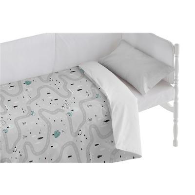 Bettbezug für Kinderbett Road I Grau 100x120 + 50x30 cm