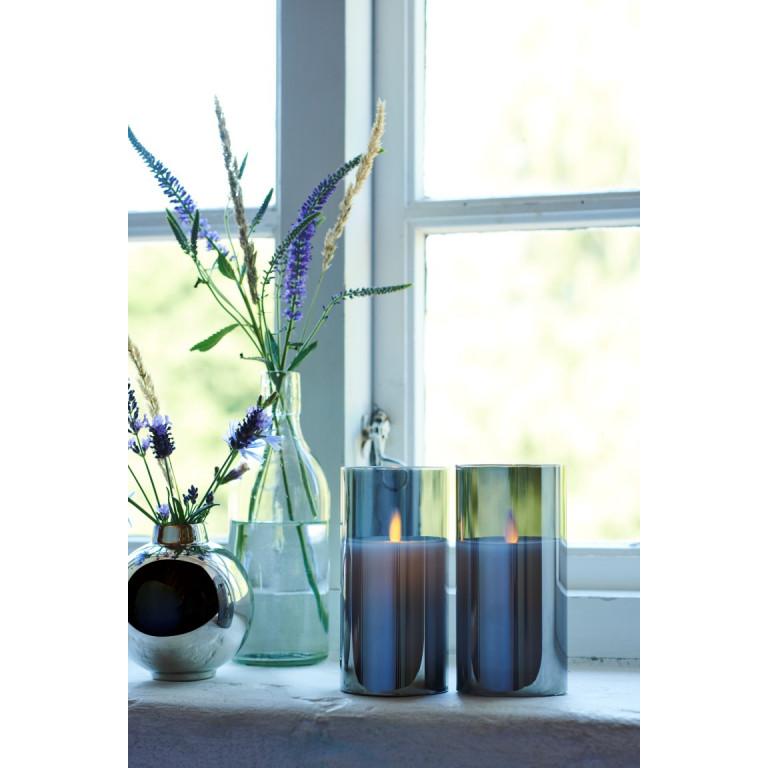 2-er Set Glaskerzen-Efeu   Grau