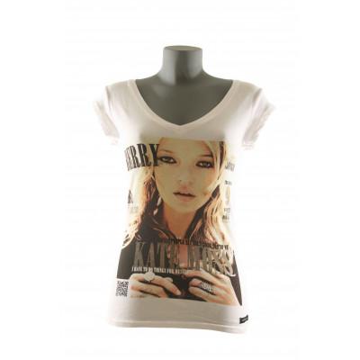 Berry Kate T-Shirt Women V-Neck- White