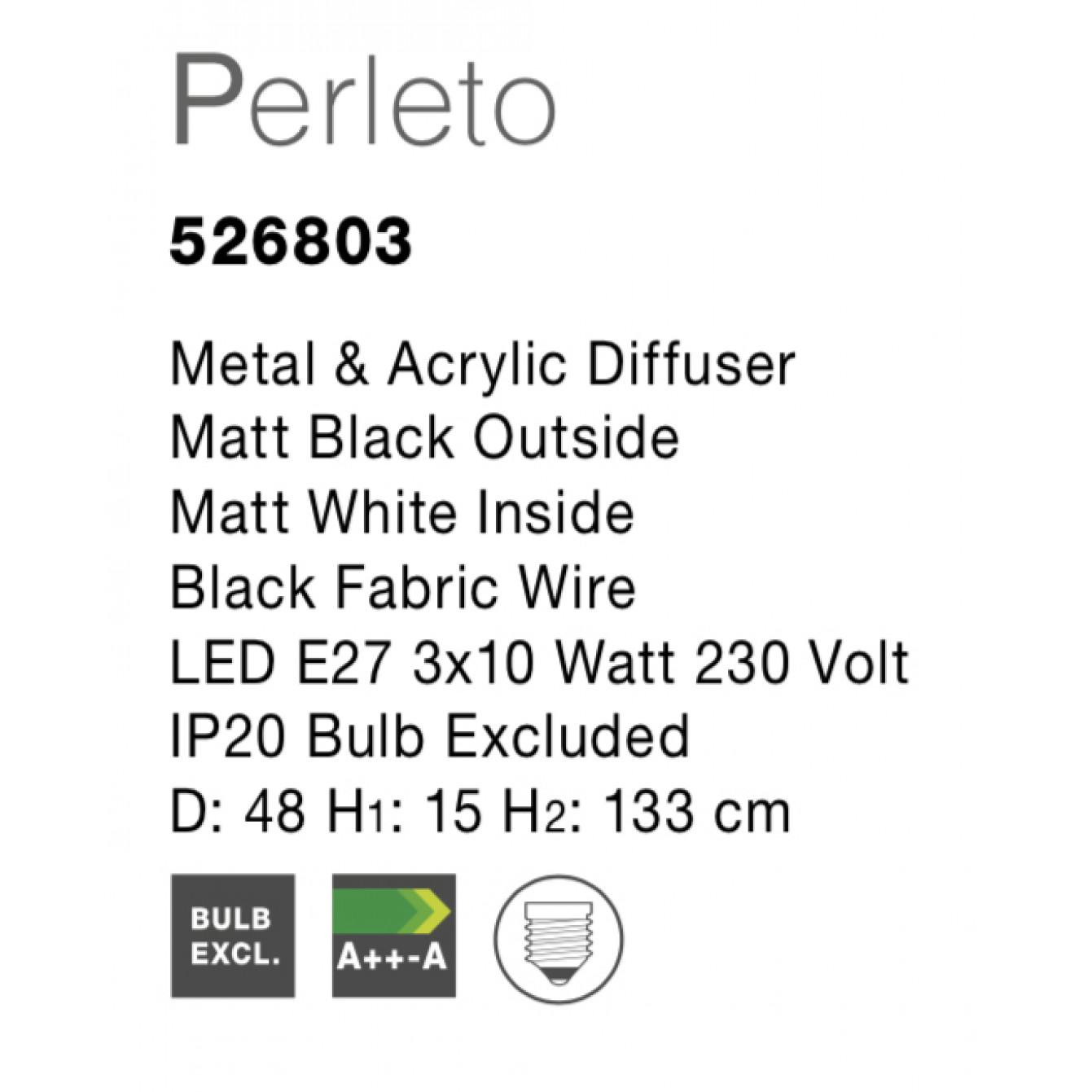 Pendelleuchte Perleto T 48 cm H 133 cm   Weiß