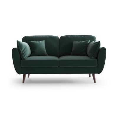 2 Sitzer Sofa Auteuil Samt   Petrolblau