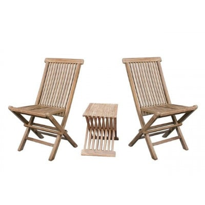 Set of 2 Chairs & 1 Table   Teak