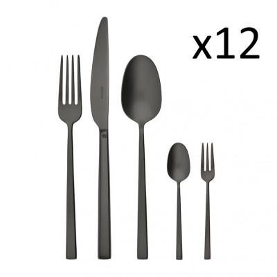 Cutlery Set of 60 Pieces Rock | Stainless Steel Black Matt