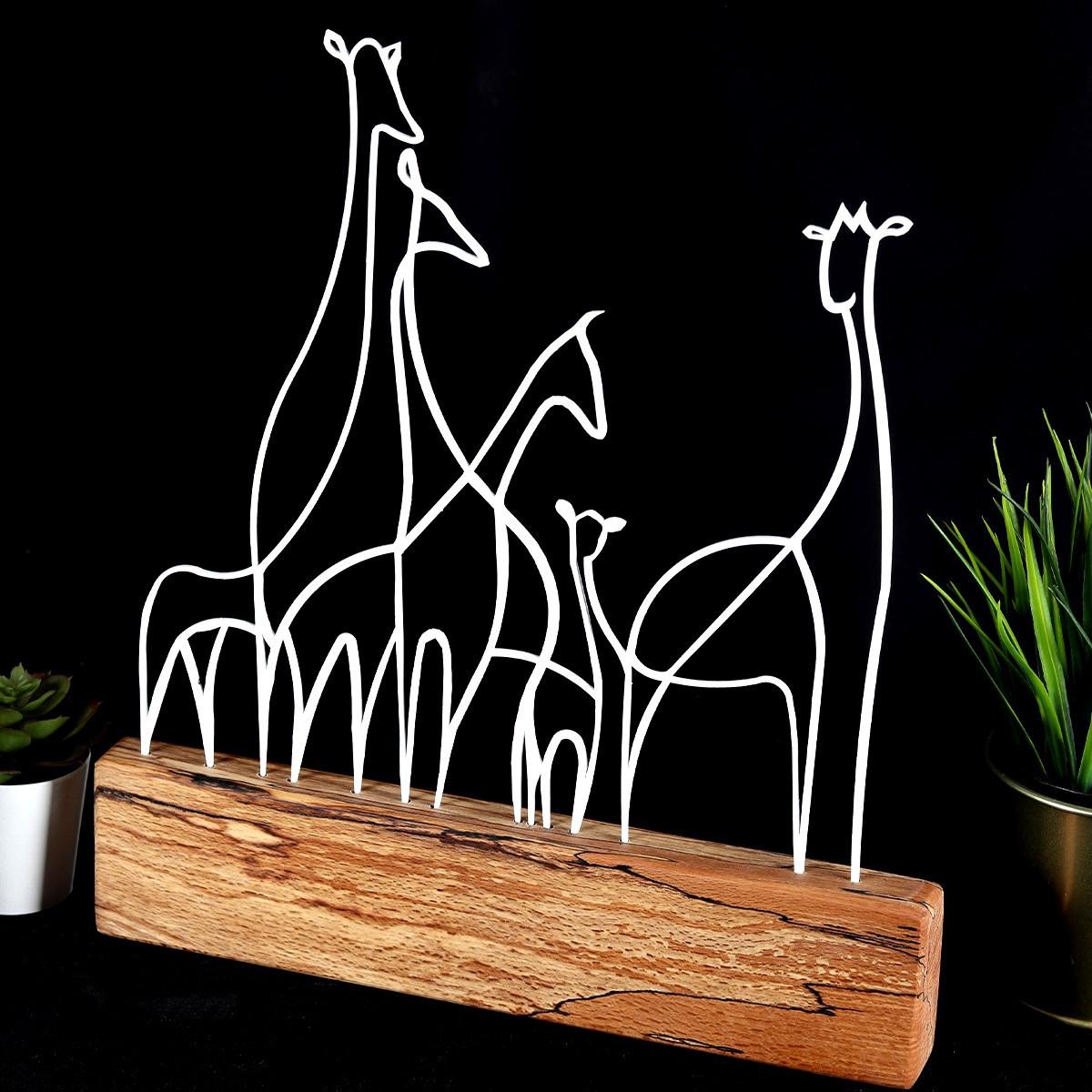 Dekoratives Objekt Giraffe   Weiß