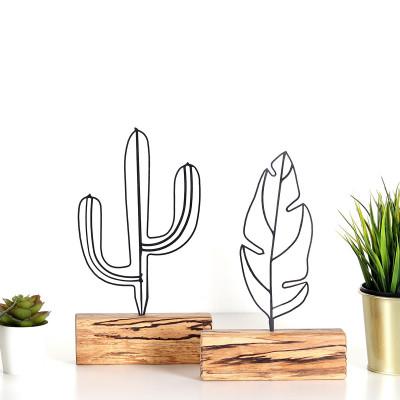Dekoratives Objekt 2er-Satz | Feder & Kaktus