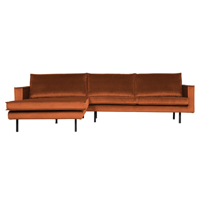 Chaise Longue Links Rodeo Samt | Rost