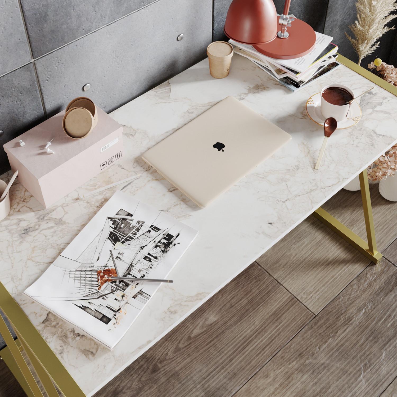 Schreibtisch Anemon | Weiß / Gold