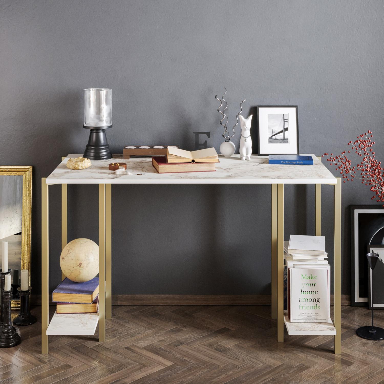 Schreibtisch Reader | Gold / Weiß