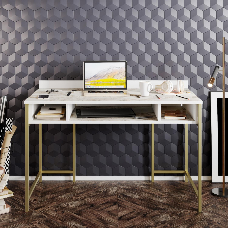 Schreibtisch Tümata | Gold / Weiß