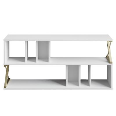 Fernsehtisch Termas | Gold / Weiß