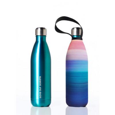 Trinkflasche Future 750 ml & Tragehülle | Minze & Frieden