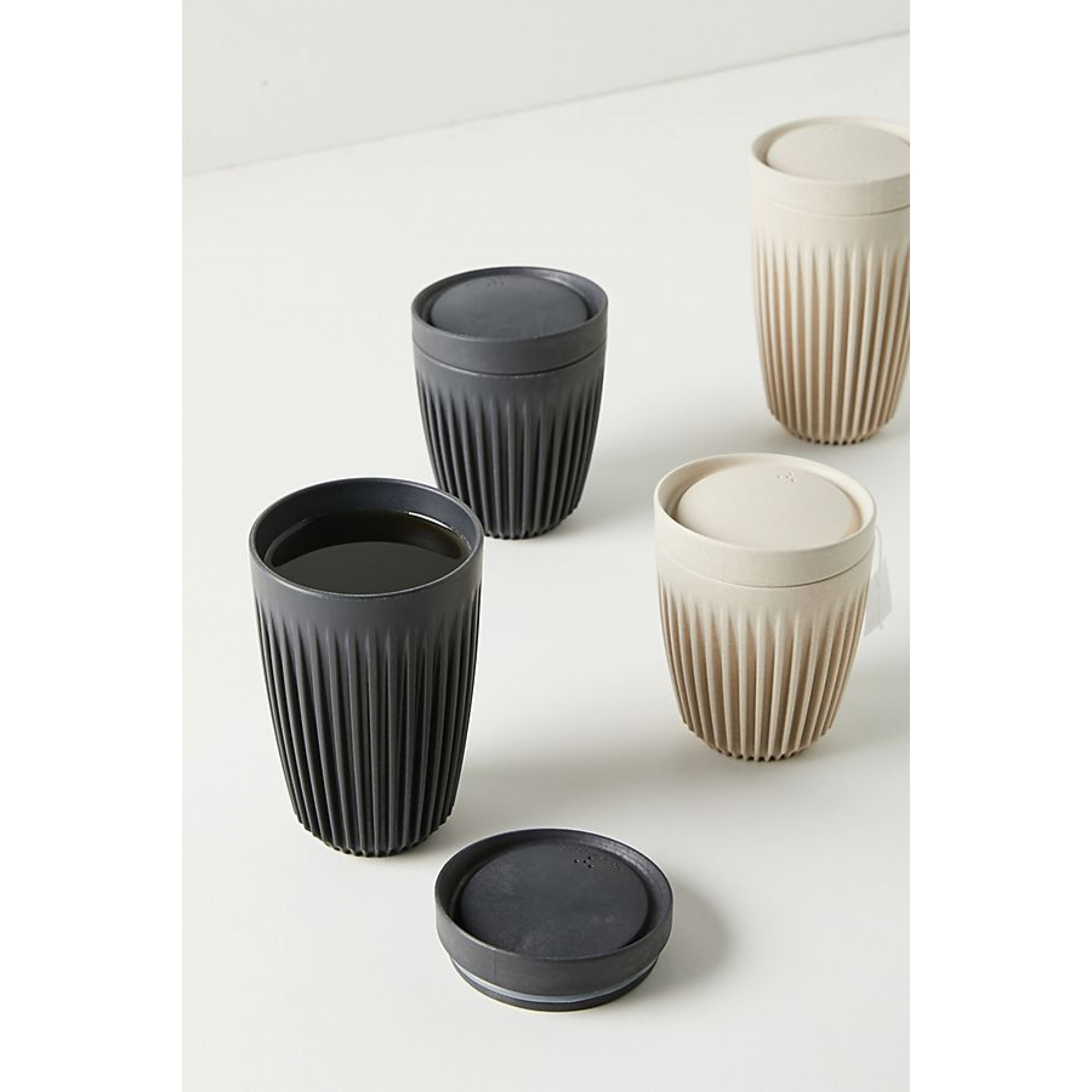 Reusable Coffee Cup + Lid Huskee 24 cl   Charcoal
