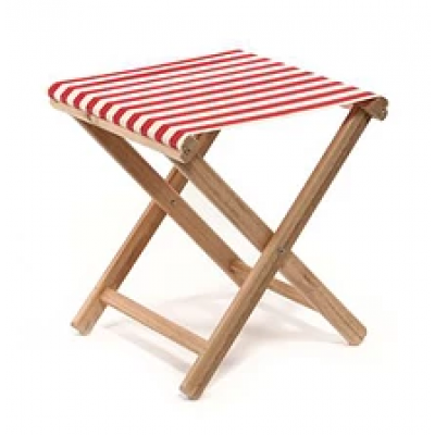 Beach Stool Striped | Red / Natural