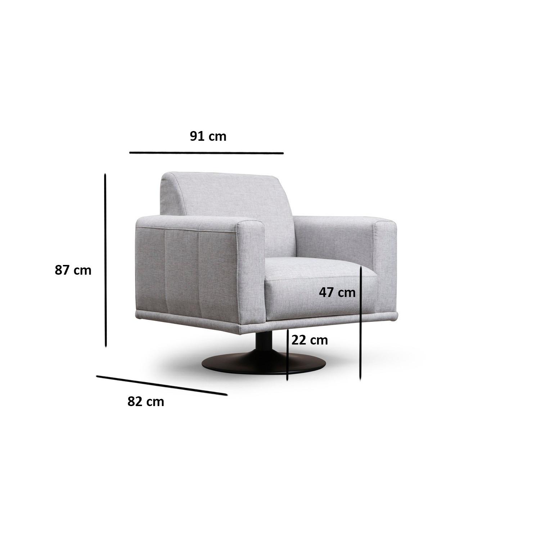 Drehbarer Sessel Nikea | Hellgrau