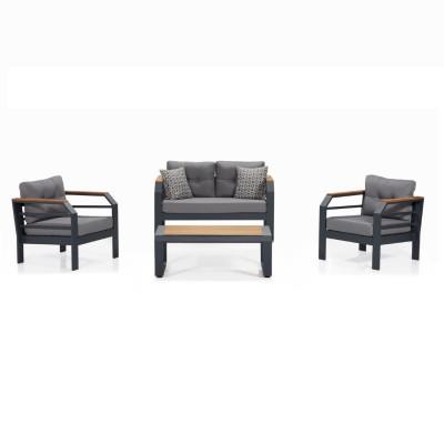 Garten-Lounge-Set | Grau - Schwarz