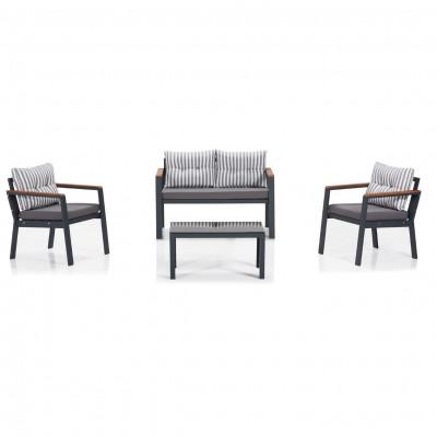 Garten-Lounge-Set | Grau - Weiß - Schwarz