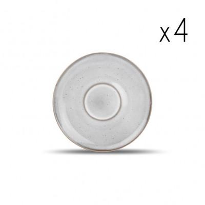 4er-Set Untertassen Freckles 15 cm | Grau