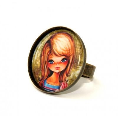 Vintage Mädchen Runde Kamee Ring