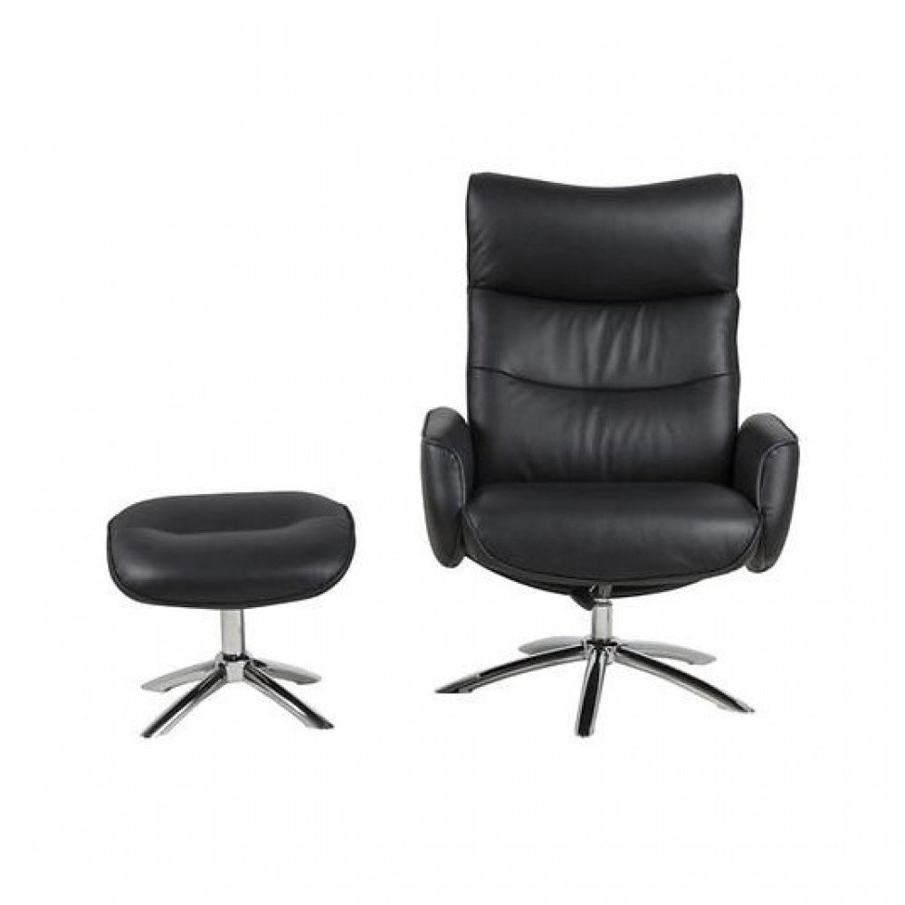 Resting Chair + Footstool Easty   Leather Black