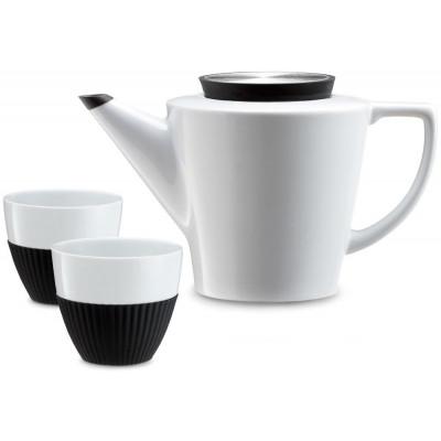 Aufguss-Teekanne + 2 Tassen | Schwarz-Weiß