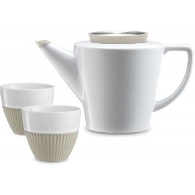 Aufguss-Teekanne + 2 Tassen | Weiß & Khaki