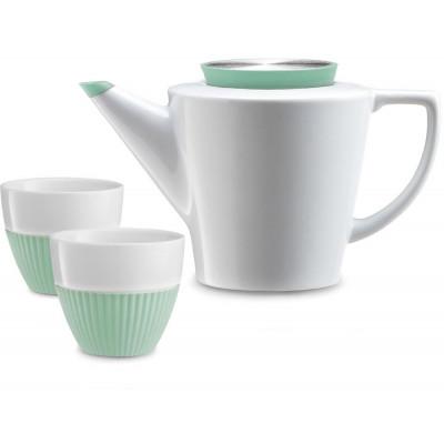 Aufguss-Teekanne + 2 Tassen | Weiß & Grün