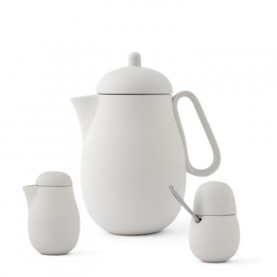 Tee-Set mit Teekanne und Milch- und Zucker-Set Nina | Weiß