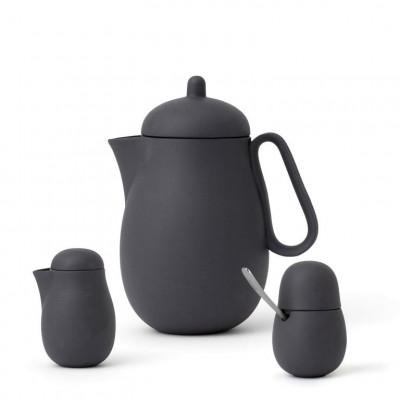Teeservice mit Teekanne und Milch- und Zucker-Set Nina | Grau