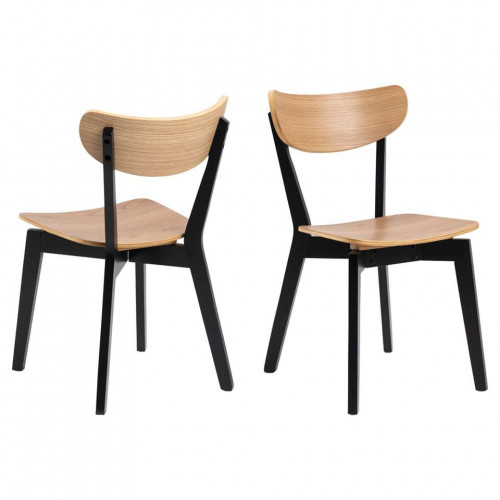 Set of 2 Dining Chairs Roxby | Oak Wood Brown
