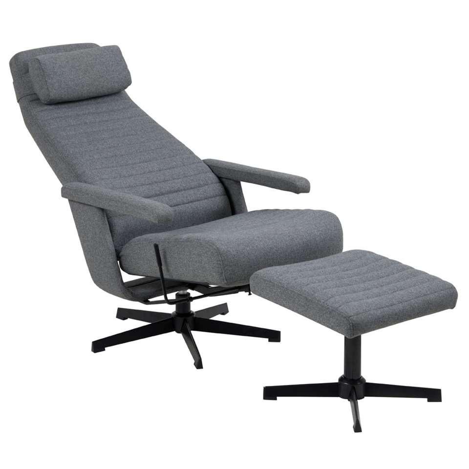 Resting Chair + Footstool Brondby | Dark Grey