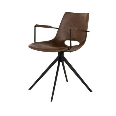 Stuhl mit Armlehne und Drehgelenk Cayman   Hellbraun und Schwarz