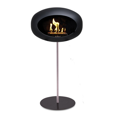 Bio Fireplace Ground Steel Black 80 cm | Steel Pole & Black Plate