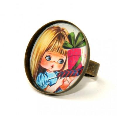 Geschenk Mädchen Runde Kamee Ring