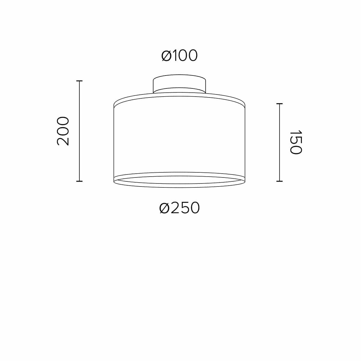 Ceiling Lamp Tres S 1 CP | White & Gold + Black Cable