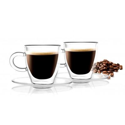 2-er Set Doppelwandige Espressotassen mit Untertasse 50 ml | Amo